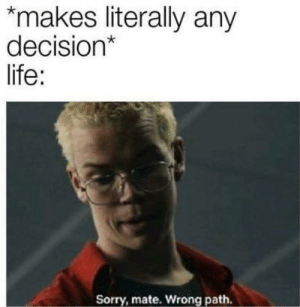 Life, Sorry, and MeIRL: makes literally any  decision*  life:  Sorry, mate. Wrong path. meirl