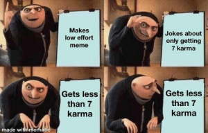 wAtCh ThIs oNlY gEt 7 KaRmA: Makes  low effort  meme  Jokes about  only getting  7 karma  Gets less  than 7  karma  Gets less  than 7  karma  made with memati wAtCh ThIs oNlY gEt 7 KaRmA