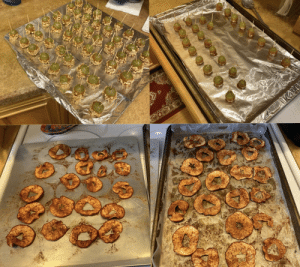 Makin some treats for my thanksgiving crew tomorrow :) let's get this bread bois (top- caramel dipped grapes with and without crushed peanuts, bottom- baked cinnamon apple chips): Makin some treats for my thanksgiving crew tomorrow :) let's get this bread bois (top- caramel dipped grapes with and without crushed peanuts, bottom- baked cinnamon apple chips)