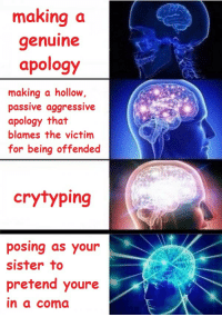"""How Many Times, Tumblr, and Blog: making a  genuine  apology  making a hollow,  passive aggressive  apology that  blames the victim  for being offended  crytyping  posing as your  sister to  pretend youre  in a coma <p><a href=""""http://celticpyro.tumblr.com/post/165305944199/joey-wheeler-official-doom-exe"""" class=""""tumblr_blog"""">celticpyro</a>:</p>  <blockquote><p><a href=""""http://joey-wheeler-official.tumblr.com/post/165289143291/doom-exe-rasec-wizzlbang-mikucrossing-okay"""" class=""""tumblr_blog"""">joey-wheeler-official</a>:</p> <blockquote> <p><a href=""""http://doom-exe.tumblr.com/post/165288312357/rasec-wizzlbang-mikucrossing-okay-im-pretty"""" class=""""tumblr_blog"""">doom-exe</a>:</p>  <blockquote> <p><a href=""""http://rasec-wizzlbang.tumblr.com/post/165279794763/mikucrossing-okay-im-pretty-sure-this-happened"""" class=""""tumblr_blog"""">rasec-wizzlbang</a>:</p>  <blockquote> <p><a href=""""http://mikucrossing.tumblr.com/post/162374080935/okay-im-pretty-sure-this-happened-on-tumblr-when"""" class=""""tumblr_blog"""">mikucrossing</a>:</p> <blockquote> <p>Okay I'm pretty sure this happened on tumblr, when tumblr first implemented the little color-changing't' in the top corner of desktop mode. Someone immediately started complaining that it was'ableist' and'dangerous' to epileptic people. Of course, a bunch of people called them out saying how the colors didn't change fast enough to cause a seizure and whatnot, fast forward a few days, the person gets blasted like discourse does, and instead of apologizing, they pose as their sister saying that the't' colors sent them into a seizure and ultimately a coma.</p> <p>At least, this was what I thought of. Might not be the specific one op is talking about.</p> </blockquote> <p>""""Might not be the specific one op is talking about.""""<br/><br/>how many times has this happened</p> </blockquote>  <p>I thought this was about the Hitler kin user </p> </blockquote>  <p>The whom?</p> </blockquote> <p>The Tumblr user who was kin with Adolf Hitler.</p></blockquote>  <p>This si"""