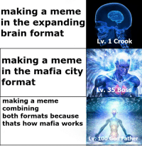 Expanding Brain: making a meme  n the expanding  brain format  Lv. 1 Crook  making a meme  n the mafia city  format  kv. 35 Boss  making  a meme  combining  both formats because  thats how mafia works  Lv 100 God Father