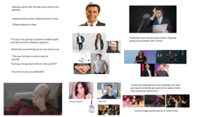 "Boner, Starter Packs, and Awkward: -Making a pause after literally every sentence for  applause  -awkward silences when applause doesn't come  -Telling audience to cheer  Presenters more nervous than a kid in 7th grade  ""If it wasn't for gaming I would have killed myself""  mini documentaries between segments  giving a presentation with a boner  ART  Behind the scenes/Hiring ads no one wants to see  ""This year has been a historic year for  gaming""  ""Gaming is the greatest artform in the world!!!""  ""You the fans are sooo AMAZING""  O Car Stock Photo  Cameos of celebrities who have nothing to do with  gaming and probably got paid a lot to appear there  (not mad about keanu tho!)  BE3  Other half  Half the audience  Forced cringey performances to stretch time E3 press conference starter pack"