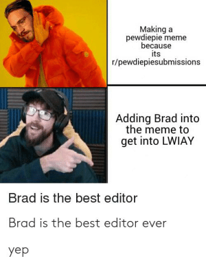 Lmao: Making a  pewdiepie meme  because  its  r/pewdiepiesubmissions  Adding Brad into  the meme to  get into LWIAY  Brad is the best editor  Brad is the best editor ever  yep Lmao