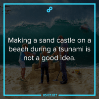 Memes, Beach, and Tsunami: Making a sand castle on a  beach during a tsunami is  not a good idea.  8SHIT NET Yes because all of your efforts making that sand castle will be wasted and your hardwork will go to nothing. #Hugot