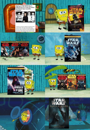 """Do You Mean Like These Novels, Kathleen?: Making A STAR WARS Film Is  Difficult Due To A Lack Of Comics  And Novels Says Lucasfilm  President  THE MUST-READ SEQUEL TO  STAR WARS: REVENGE OF THE SITH  TAR  WARS  DARK LORD  THE RISE OF DARTH VADER  """"There's no source material. We don't have  comic books. We don't have 800-page  novels,"""" says Lucasfilm President Kathleen  Kennedy when asked about the difficulties  that come with making a Star Wars movie.  JAMES LUCENO  LEGEND S  NEW YORK TIMES BESTSELLER  STAR  LEGINDS  LEGENDS  WARS  OUTBOUND FLIGHT  STAR  TAR  WARS  HEIRT THE EMPIRE DARKFORCERISING THE LASTCOMMAND  TIMOTHY ZAHN TIMOTHY ZAHN TIMOTHY ZAHN  TIMOTHY ZAHN  LEGEND S  TA  AR  ΤAR:  TAR WARS S  LEGTNDS  LEGINDS  WARS  -RULE of TwO  DYNASTY OF EVIL  PHof DISTRUGON  CHOICES  OF ONE  DtEW KARPYSIN  DREW KARPYSHYN  DREW KARPYSHYN  TIMOTHY ZAHN  STAR  WARS  DARTH PLAGUEIS  JAMES LUCENO Do You Mean Like These Novels, Kathleen?"""