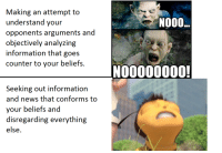News, Information, and Making: Making an attempt to  understand your  opponents arguments and  objectively analyzing  information that goes  counter to your beliefs.  NOO0  NO0000000!  Seeking out information  and news that conforms to  your beliefs and  disregarding everything  else