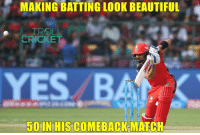Beautiful, Memes, and Troll: MAKING BATTING LOOK BEAUTIFUL  TROLL  CRICKET  500 IN HIS COMEBACK  MATCH HE IS BACK !! Brings his 50 with a six Scored-62 :D  <aVAn>