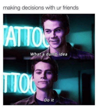 Dumb, Friends, and Memes: making decisions with ur friends  ATTO  What a dumb idea  Do it