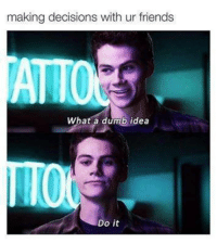 Dumb, Friends, and Funny: making decisions with ur  friends  What a dumb idea  Do it