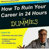 We believe in you ;( -💙: Making Everything Easera  Novelty Edition  How To Ruin Your  Career in 24 Hours  DUMMIES  Learn to:  Effectively ruin your career  Achieve maximum  crook ness  Be a valuable goy We believe in you ;( -💙