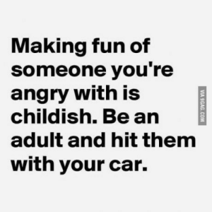 Angry, Childish, and Fun: Making fun of  someone you're  angry with is  childish. Be an  adult and hit them  with your car. Be direct