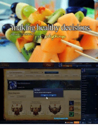 League of Legends, Decisions, and Legend: making healthy decisions  LEGENDS  Cpt Rastapopulos  Level 30  Ave you you want  Stats  OVErview Healthy decisions 😂