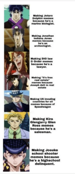 """Edgy: Making Jotaro  Doiphin memes  because he's a  marine biologist.  Making Jonathan  Indiana Jones  memes because  he's an  archeologist.  Making DIO law  O Order memes  because he's a  lawyer.  Making """"it's free  real estate""""  memes because  Joseph delt in real  estate  Making US invading  countries for oil  memes because of  Speedwagon  Making Kira  Glengarry Glen  Ross memes  because he's a  salesman.  Making Josuke  school shooter  memes because  he's a highschool  delinquent. Edgy"""