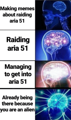 Memes, Alien, and Dank Memes: Making memes   about raiding  aria 51  Raiding  aria 51  Managing  to get into  aria 51  Already being  there because  you are an alien Everybody be there
