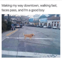 Memes, Sang, and Good: Making my way downtown, walking fast,  faces pass, and I'm a good boy like if you sang it 😏 (@thedryginger)