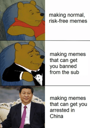 Memes, China, and Free: making normal  risk-free memes  making memes  that can get  you banned  from the sub  making memes  that can get you  arrested in  China Ill take the risk