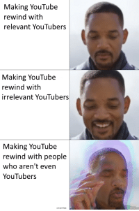 Reddit, youtube.com, and Who: Making YouTube  rewind with  relevant YouTubers  Making YouTube  rewind with  irrelevant YouTubers  Making YouTube  rewind with people  who aren't even  YouTubers
