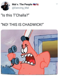 "Blackpeopletwitter, Dancing, and Via: Mal v. The People  @Dancing_Mal  ""Is this T'Challa?""  ""NO! THIS IS CHADWICK!"" <p>HE'S HAD ENOUGH (via /r/BlackPeopleTwitter)</p>"