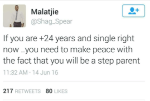 Better start looking: Malatjie  @shag_Spear  If you are +24 years and single right  now ..you need to make peace with  the fact that you will be a step parent  11:32 AM . 14Jun 16  217 RETWEETS 80 LIKES Better start looking