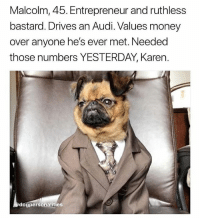 Dogs, Memes, and Money: Malcolm, 45. Entrepreneur and ruthless  bastard. Drives an Audi. Values money  over anyone he's ever met. Needed  those numbers YESTERDAY, Karen.  dogpersonalities @dogpersonalities makes up stories for dogs and it's my favourite page in the world 😂😂😂