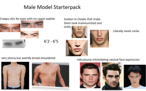 Male Model Starterpack: Male Model Starterpack  Creepy slits for eyes with no upper eyelids  Sunken in cheeks that make  them look malnourished and  sickly  Literally never smile  6'2 -6'5  very skinny but weirdly broad shouldered  ridiculously intimidating neutral face expression Male Model Starterpack