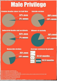 Memes, Awww, and 🤖: Male Privilege  Combat deaths since 1st Gulf War Suicide victims  97% men  80% men  3% Women  20% Women  Industrial deaths and accidents Winner of custody  93% men  16% men  7% Women  84% Women  Homocide victims  Average sentence by gender  76% men  51.52 months  24% Women  B women 18.51 months  htp www defenselinkmanewscasualtypd  http:OwwwhatsroonoloomAmencas Major Wars html  http Awww.merokmanuaisioomiprofessional psychiatric disordenssuodal behaviorsulodal behaviorhtml?ats&sce5ate  http lincfrm.org/2011/04 issues oriminalsentencing  httpINwww.cdc goviin jury indexhtml just some facts