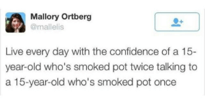 Smoked: Mallory Ortberg  @mallelis  Live every day with the confidence of a 15-  year-old who's smoked pot twice talking to  a 15-year-old who's smoked pot once