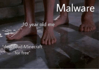 """malware: Malware  10 year old me  """"denload Minecraft  or free"""