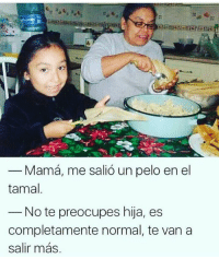 Goals, Memes, and Mom: Mama, me salic un pelo en el  tamal  Note preocupes hija, es  completamente normal, te van a 😂😂😂 Mom goals Follow @puro_jajaja