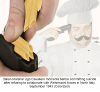 Death, Suicide, and Italy: mama  mia...  Italian Marshal Ugo Cavallero moments before committing suicide  after refusing to collaborate with Wehrmacht forces in North Italy,  September 1943 (Colorized) Ravioli Ravioli, Give me the Death I Deservioli https://t.co/V46PPSKLho