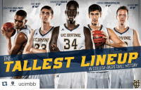 """Basketball, College, and Sports: MAMADOU NDIAYE  IOANNIS DIMAKOPOULOS  MIKE BEST  76""""  SHAWN RAY  72""""  610""""  JONATHAN GALLOWAY  UC IRVINE  VINE.  UCIRVINF  34  THE  INCOLLEGE BASKETBALL HSTORY Last night, UC Irvine used the tallest lineup in college hoops HISTORY and won. 👀"""