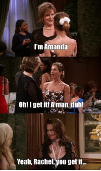A man duh: mAmanda  3  3  on!I getit! Aman duh!  IT  Yeah, Rachel,you get it. A man duh