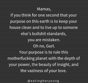 👏👏👏 (via Instagram.com/eatingheryoung): Mamas,  If you think for one second that your  purpose on this earth is to keep your  house clean and to live up to somone  else's bullshit standards,  you are mistaken.  Oh no, Gurl.  Your purpose is to rule this  motherfucking planet with the depth of  your power, the beauty of insight, and  the vastness of your love.  @eatingheryoung 👏👏👏 (via Instagram.com/eatingheryoung)
