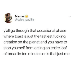 Fucking, Toast, and Bread: Mamas  @kalea_padilla  y'all go through that occasional phase  where toast is just the tastiest fucking  creation on the planet and you have to  stop yourself from eating an entire loaf  of bread in ten minutes or is that just me Ill toast to this
