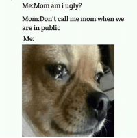 Meme: mami ugly?  Me:Mo  Mom:Don't call me mom when we  are in public  Me: Meme