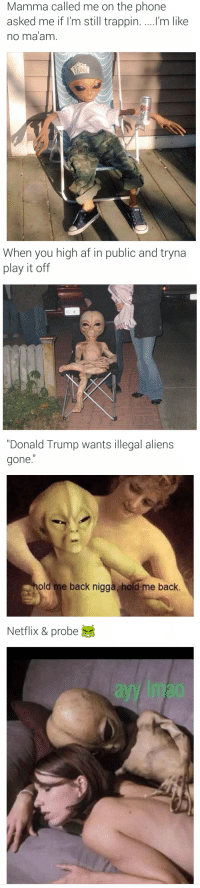 """Af, Donald Trump, and Funny: Mamma called me on the phone  asked me if I'm still trappin. ....l'm like  no ma am  00   When you high af in public and tryna  play it off   """"Donald Trump wants illegal aliens  gone  hold me back nigga hold me back.   Netflix & probe Alien Twitter"""