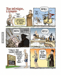 "9gag, Instagram, and Memes: man andreligion,  aynopola:  ""THEY  SAD.  CHRISTIANITY  IS A RELIGION  OF PEACE  CALMED DONN AND  ITAOUCHT  I COULD  BUT  HAVE A  THEN  NICE DAY  T NFIDEL!  ""BUT  THEN.  WITCH!  ISLAM  ISA  RELIGION  OF PEACE. Steve Miller instagram.com/apikores Credit: 9GAG.com Submitted by: Asbjørn Nissen"