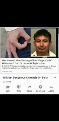 """Chicago, Police, and Earth: Man Arrested After Showing Officer """"Finger Circle""""  When Asked For His License & Registration  CHICAGO- A Chicago man has been arrested after he was pulled over by Chicago  police and alegedly showed the officer the """"finger circle when asked for his  HUZLERS.COM  10 Most Dangerous Criminals On Earth  5M views  23K  2.3K  Share Download Add to"""