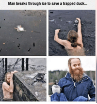 Memes, Duck, and 🤖: Man breaks through ice to save a trapped duck... https://t.co/i13ZeSiBCt