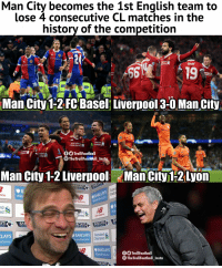 *THE RECORD BREAKERS* https://t.co/TLGBOd5Hjw: Man City becomes the 1st English team to  lose 4 consecutive CL matches in the  history of the competition  NOVARTIS  the  NOVARTIS  19  Man City 1-2 FC Basel Liverpool3-0 ManCity  OO TrollFootball  The TrollFootball Insta  Man City 1-2 Liverpool ManCity1-2Lyon  Ind  nco  #Spi  rd  AYS  RCLAYS  Standard  Chartered  LAYS  BARCLAYS  BARCLAYSll  TheTrollFootball_Insta *THE RECORD BREAKERS* https://t.co/TLGBOd5Hjw
