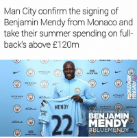 👍 or 👎 signing ❓: Man City confirm the signing of  Benjamin Mendy from Monaco and  take their summer spending on full-  back's above £120m  ETIHAD  NEXEN TIRE  CTIHAD  GETIHAD  RWAY  MENDY  ETIHAD  EXEN  TIRE  MMER SIGNINGS 2017/18  BENJAMIN  MENDY  BLUEMENDY  AaDuabi ON  TIRE  NEXEN TIRE 👍 or 👎 signing ❓
