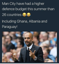Memes, Summer, and Budget: Man City have had a higher  defence budget this summer than  26 countries  Including Ghana, Albania and  Paraguay! 👀