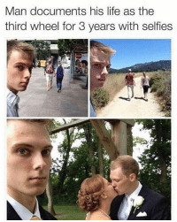 Lmao: Man documents his life as the  third wheel for 3 years with selfies Lmao