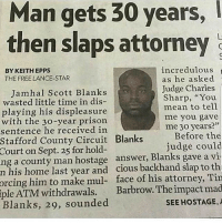 "Memes, Prison, and Free: Man  gets  30  years,  then slaps attorney  incredulous  as he asked  Judge Charles  Sharp, ""You  BY KEITH EPPS  THE FREE LANCE-STAR  Jamhal Scott Blanks  wasted little time in dis-  playing his displeasure  with the 30-year prison  sentence he received in  mean to tell  me you gave  me 30 years?""  Before the  judge could  Stafford County Circuit Blanks  Court  on Sept. 25 for hold-  ng a county man hostage answer, Blanks gave a vi  n his home last year and cious backhand slap to th  face of his attorney, Tin  Barbrow. The impact mad  SEE HOSTAGE,A  orcing  him to make mul-  iple  ATM withdrawals.  Blanks, 29, sounded 😂😂😂"