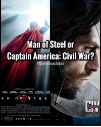Comment below ⬇️ Which is your fav? MarvelousJokes: Man of Steel or  Captain America: Civil War?  Jokes  ADAMS SHANOCOSTNER CANE FisHBURNECR  A N O  CAPT/  SEE IT IN 2D, reaLD)3D AND IMAX 3D  JUNE 1 4 Comment below ⬇️ Which is your fav? MarvelousJokes