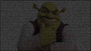 """The entire Shrek movie script made into a 4K wallpaper: {Man) Once upon a time there was a lovely princess. But she had an enchantment upon her of a fearful sort which could only be broken by love's first kiss. She was locked away in a castle guarded by a terrible fire-breathing dragon. Many brave knights had attempted to free her from this dreadful prison, but non prevailed. She waited in the dragon's keep in the highest room of the tallest tower for her true love and true love's first kiss. {Laughing) Like that's ever gonna happen. (Paper Rusting, Toilet  Flushes) What a load of Somebody once told me the world is gonna roll me I ain't the sharpest tool in the shed She was lookin' kind of dumb with her finger and her thumb In the shape of an """"L"""" on her forehead The years start comin' and they don't stop comin' Fed to the rules and hit the ground runnin' Didn't make sense not to live for fun Your brain gets smart but your head gets dumb So much to do so much to see So what's wrong with takin' the backstreets You'll never know if you don't go  You'll never shine if you don't glow Hey, now You're an all-star Get your game on, go play Hey, now You're a rock star Get the show on, get paid And all that glitters is gold Only shootin' stars break the mould It's a cool place and they say it gets colder You're bundled up now but wait till you get older But the meteor men beg to differ Judging by the hole in the satellite picture The ice we skate is gettin' pretty thin The water's getting warm so you might as well swim My world's on fire How 'bout yours  That's the wayI like it and I'll never get bored Hey, now, you're an all-star (Shouting) Get your game on, go play Hey, now You're a rock star Get the show on, get paid And all that glitters is gold Only shootin' stars break the mould (Belches) Go! Go! (Record Scratching) Go. Go. Go. Hey, now, you're an all-star Get your game on, go play Hey, now You're a rock star Get the show on, get paid And all that glitters is gold Only """