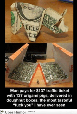 """Fuck You, Traffic, and Tumblr: Man pays for $137 traffic ticket  with 137 origami pigs, delivered in  doughnut boxes. the most tasteful  """"fuck you"""" I have ever seen  Uber Humor steveno failnation:  Well played"""