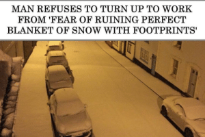 Dank, Memes, and Target: MAN REFUSES TO TURN UP TO WORK  FROM 'FEAR OF RUINING PERFECT  BLANKET OF SNOW WITH FOOTPRINTS' me irl by _itsgomesz MORE MEMES