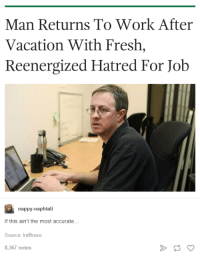 nappy: Man Returns To Work After  Vacation With Fresh,  Reenergized Hatred For Job  nappy-naphtali  If this ain't the most accurate..  Source: iraffiruse  8,367 notes