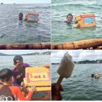Man sells popsicles amidst a flood in Indonesia: Man sells popsicles amidst a flood in Indonesia